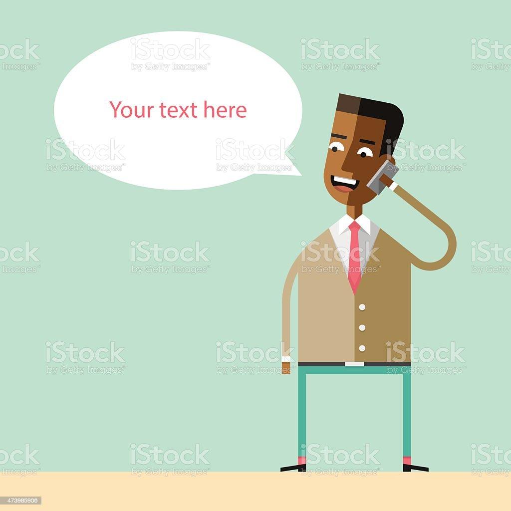 African american businessman talking on the phone. vector art illustration