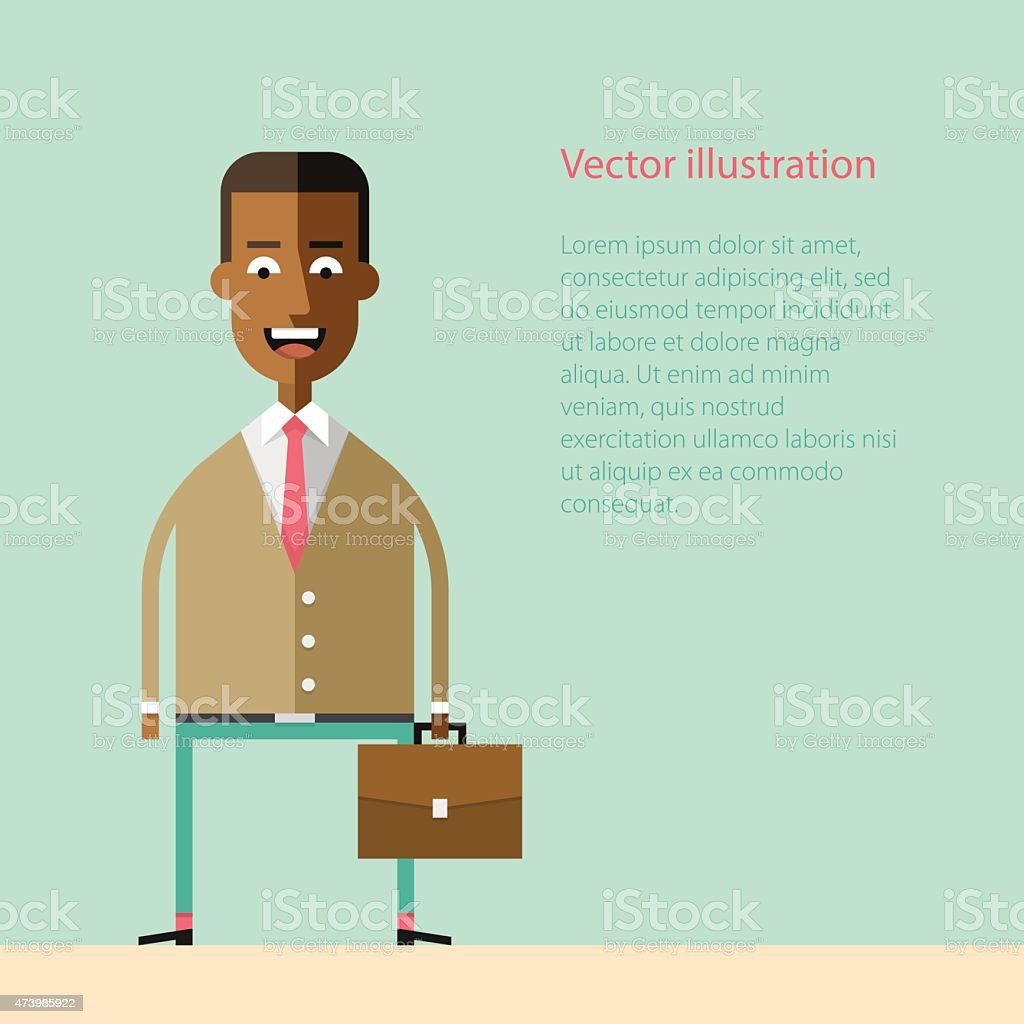 African american businessman with a briefcase vector art illustration