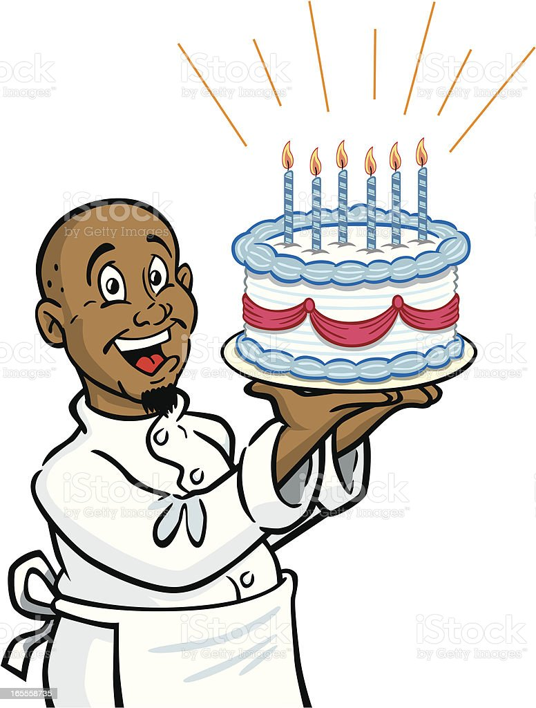African American Chef With Birthday Cake vector art illustration