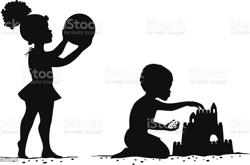 African American Children at the beach vector art illustration