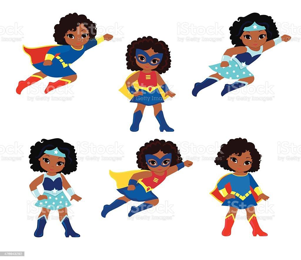 African American Cute superhero girl vector clip art set. vector art illustration