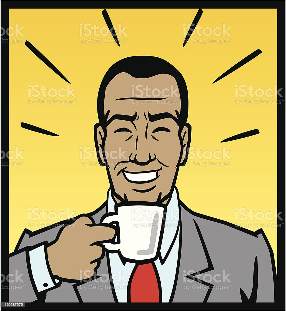 African American Drinking Coffee royalty-free stock vector art