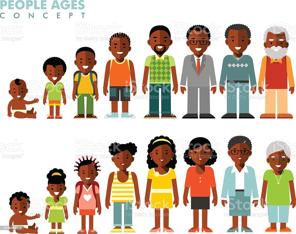 African american ethnic people generations at different ages vector art illustration