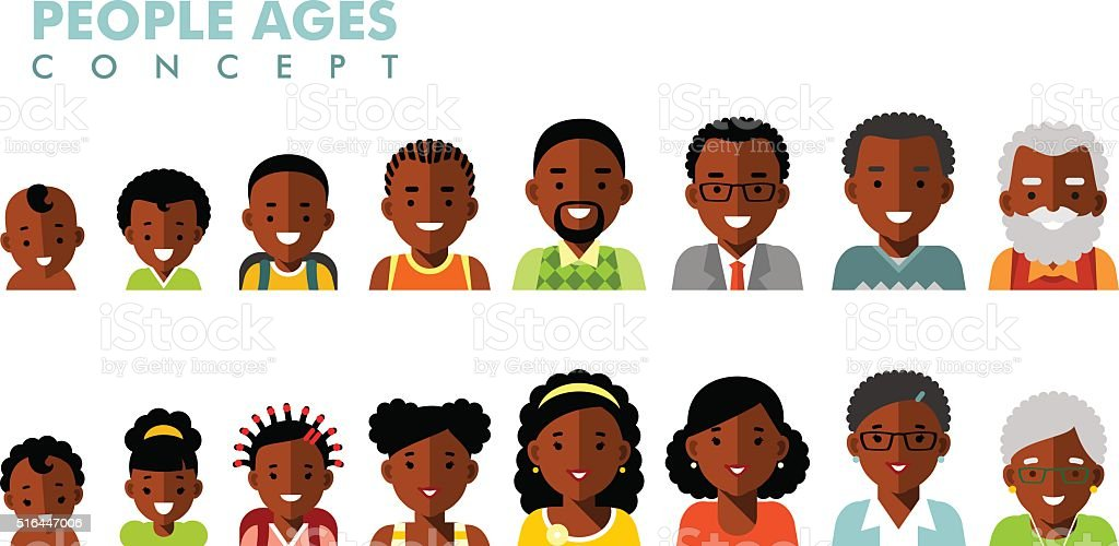 African american ethnic people generations avatars at different ages vector art illustration