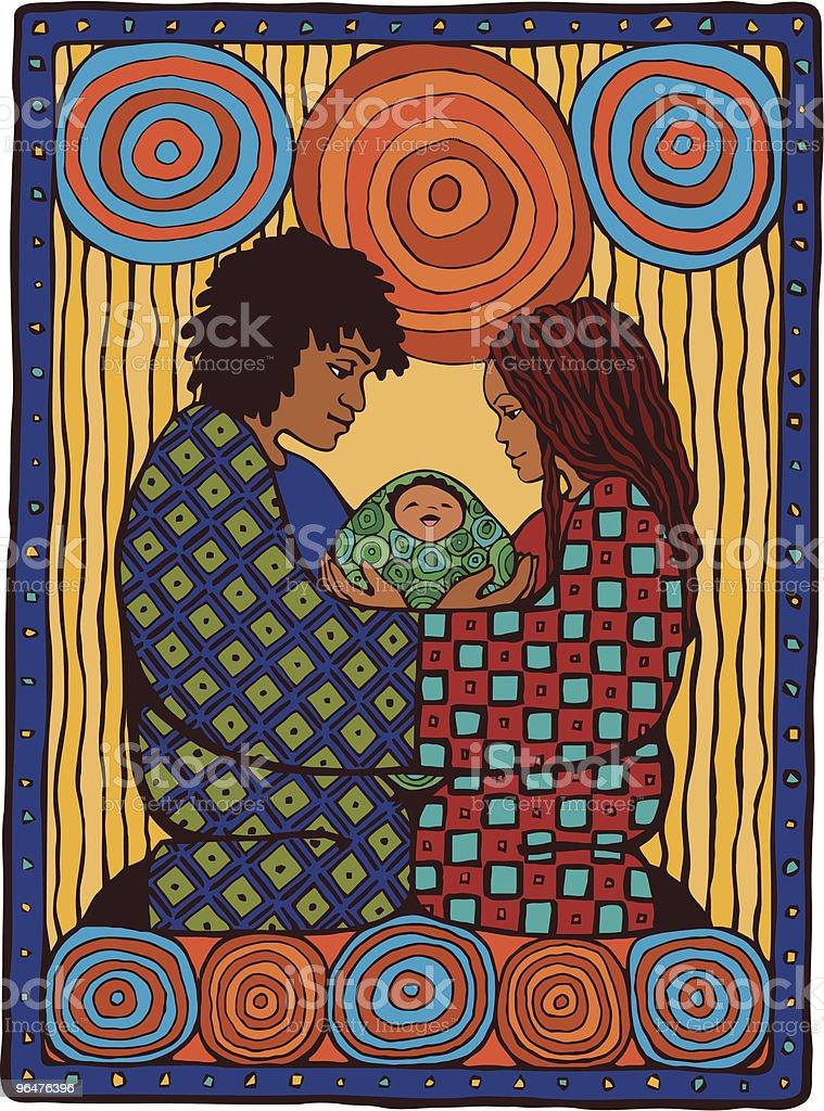 African American Family Portrait vector art illustration