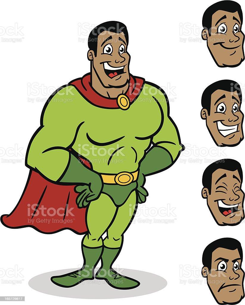 African American Generic Super Hero vector art illustration