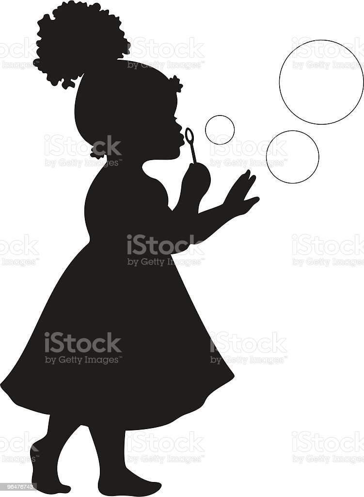 African American Girl Blowing Bubbles vector art illustration