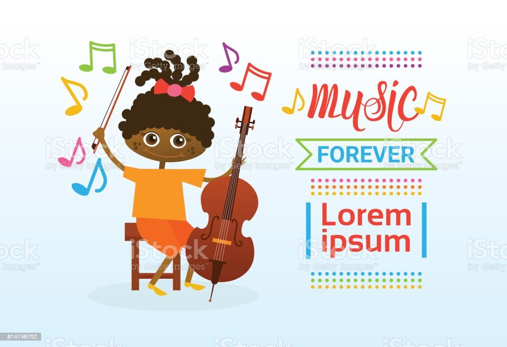 African American Girl Playing Collo Musical Instrument vector art illustration