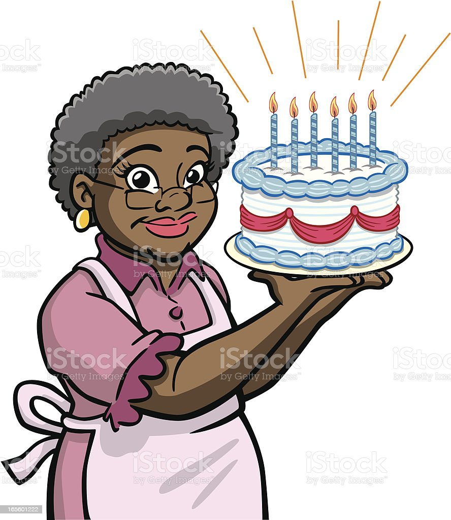 African American Granny With Birthday Cake vector art illustration