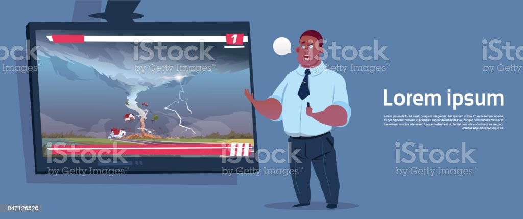 African American Man Leading Live TV Broadcast About Tornado Destroying Farm Hurricane Damage News Of Storm Waterspout In Countryside Natural Disaster Concept vector art illustration