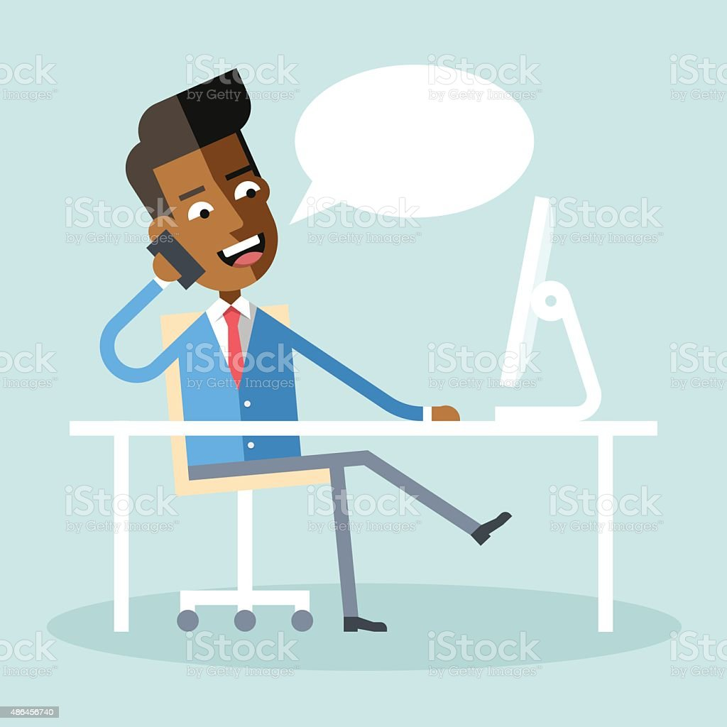 African american manager sitting at desk talking on cell phone. vector art illustration