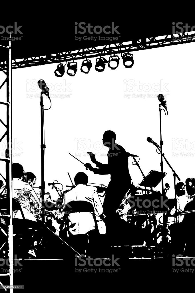 African American Musical Conductor Leading Orchestra at an Outdoor Concert vector art illustration