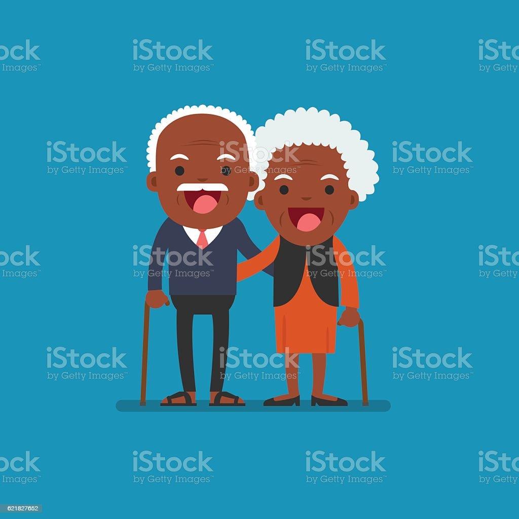 African american people, Retired elderly senior age couple. vector art illustration
