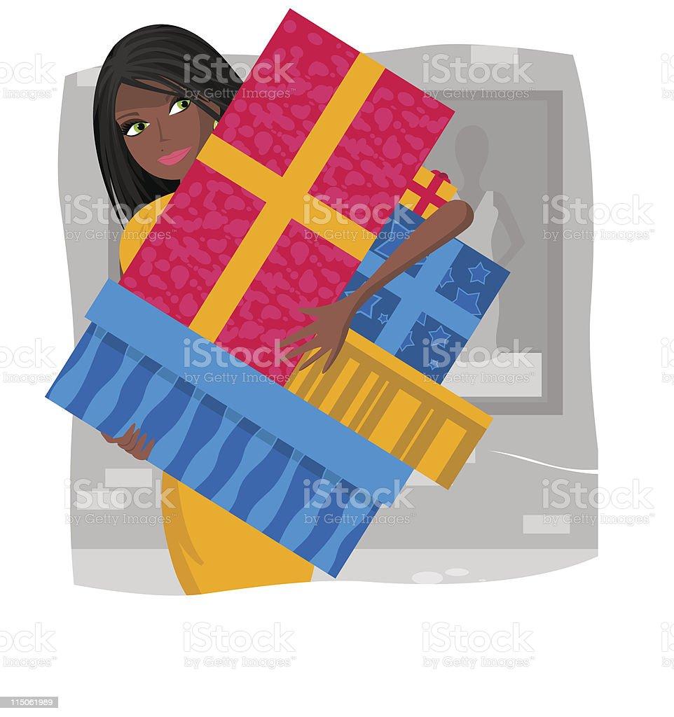 African american shopping girl royalty-free stock vector art
