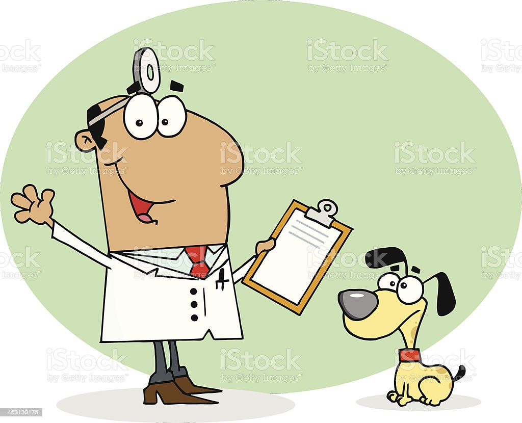 African American Smiling Veterinarian Next to A Dog With Background royalty-free stock vector art