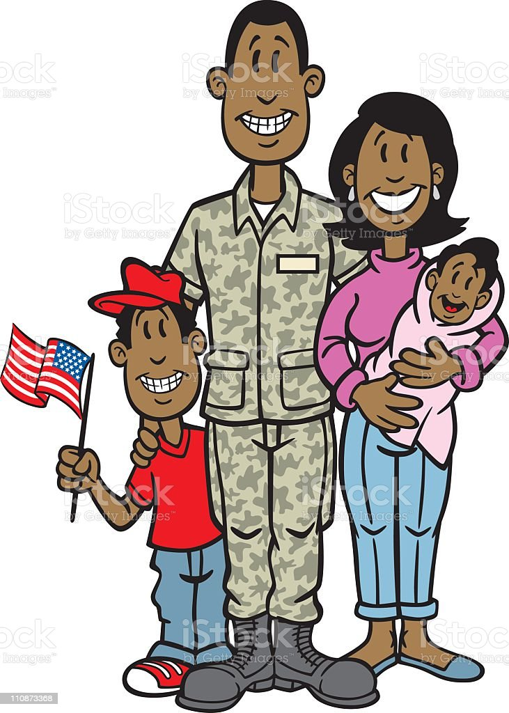 African American Soldier With Family vector art illustration