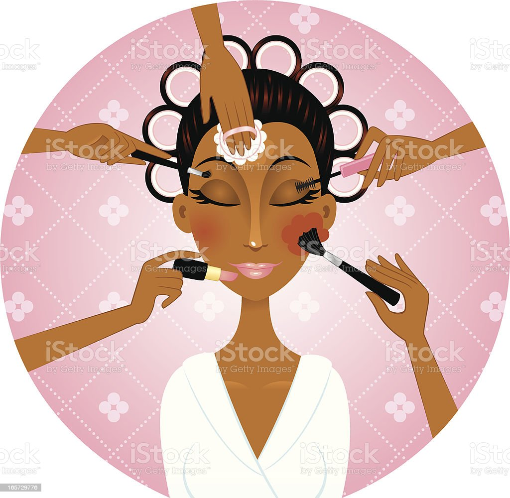 African american woman applying make-up royalty-free stock vector art