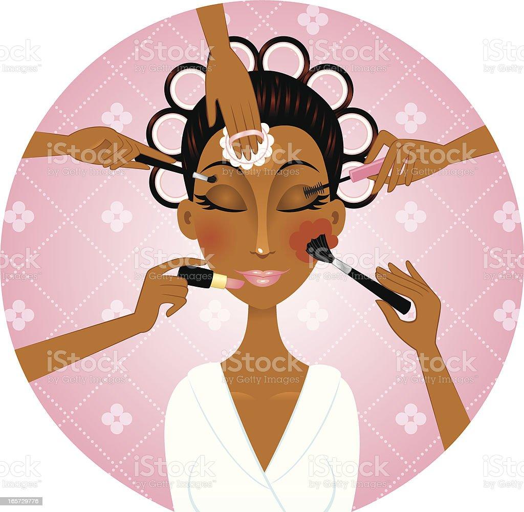 African american woman applying make-up vector art illustration