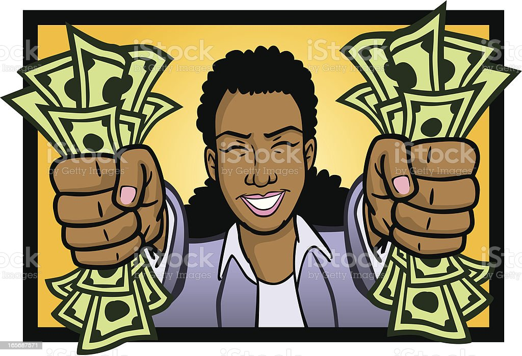 African  American Woman Holding Cash vector art illustration
