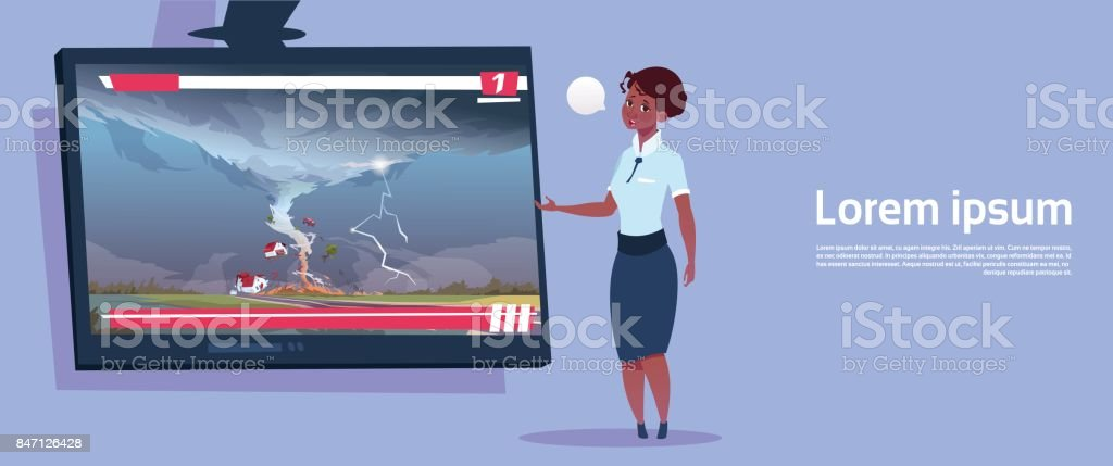 African American Woman Leading Live TV Broadcast About Tornado Destroying Farm Hurricane Damage News Of Storm Waterspout In Countryside Natural Disaster Concept vector art illustration