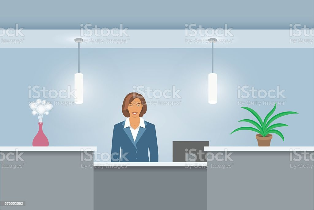 African American Woman receptionist at reception desk front view vector art illustration
