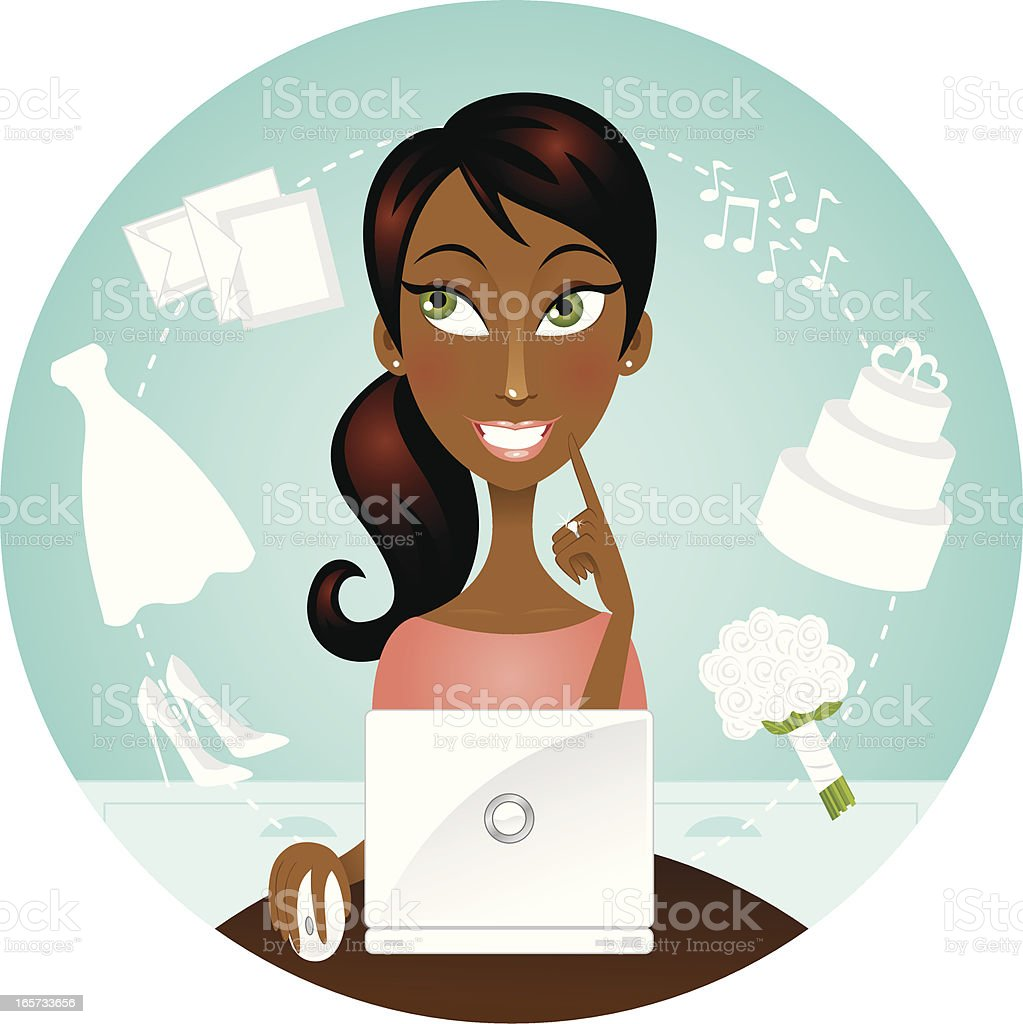 African American woman with laptop wedding planning royalty-free stock vector art