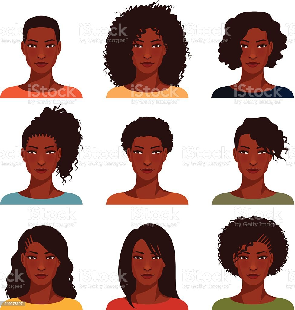 African American women with various hairstyle vector art illustration