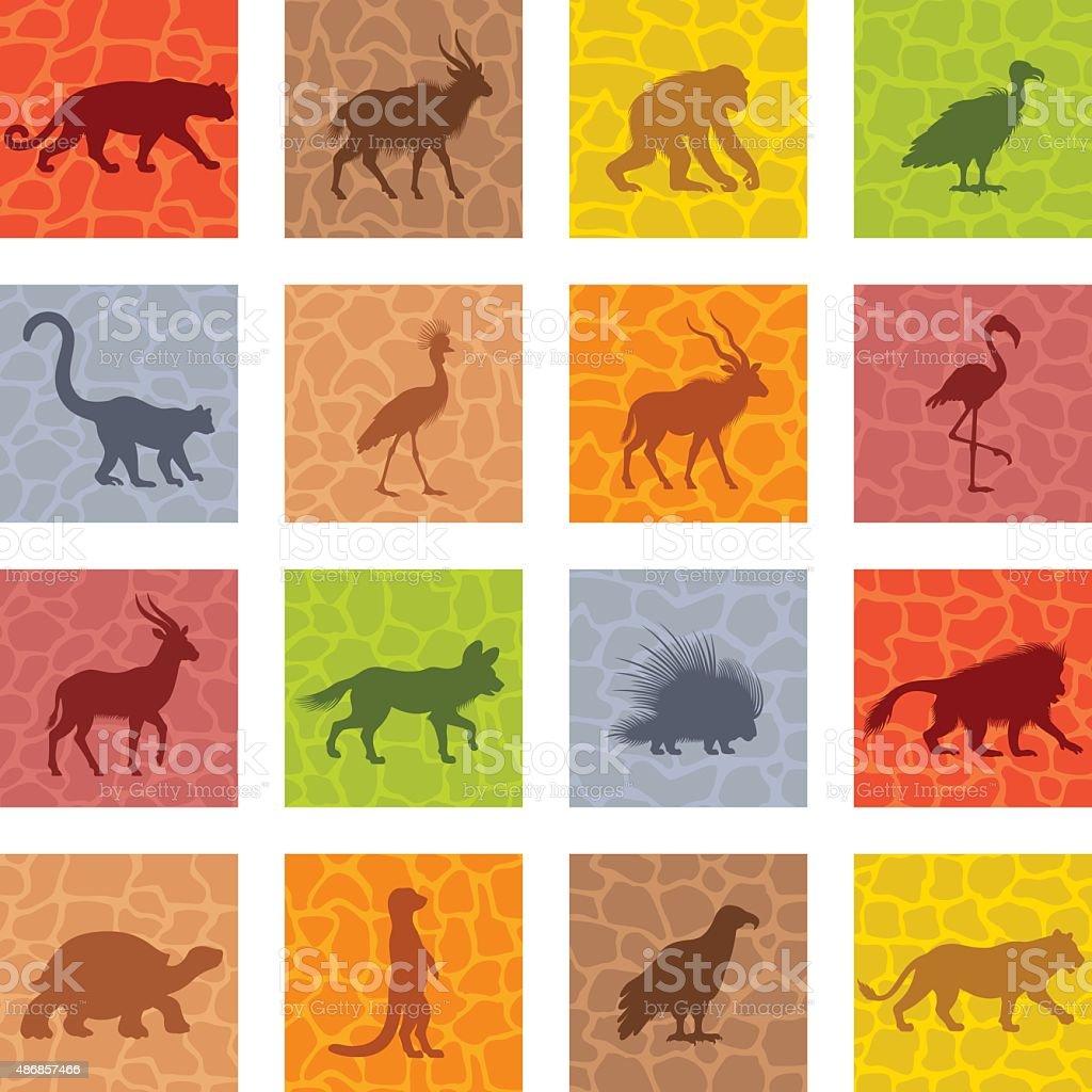 African Animal Icon Set vector art illustration