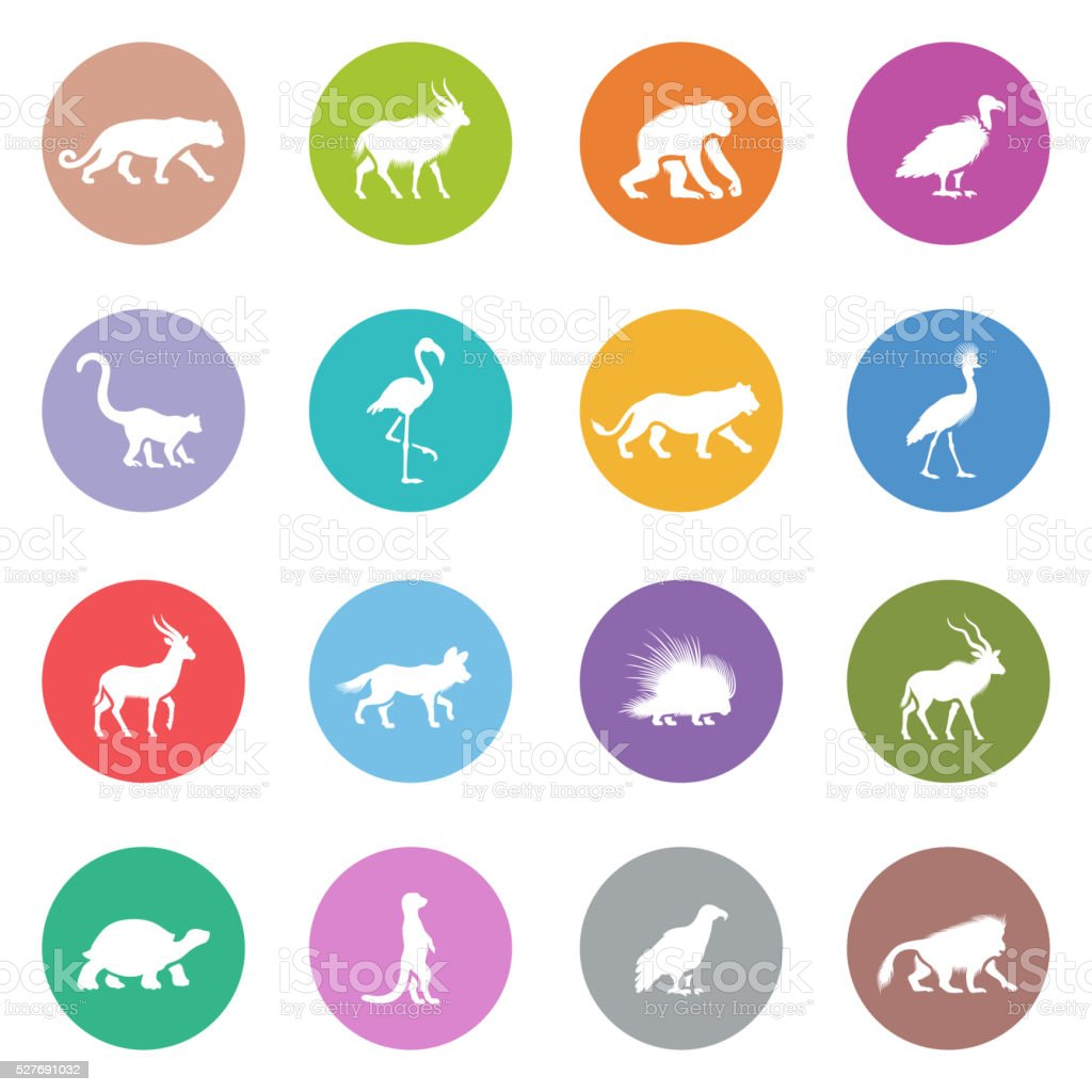African Animal Icons vector art illustration
