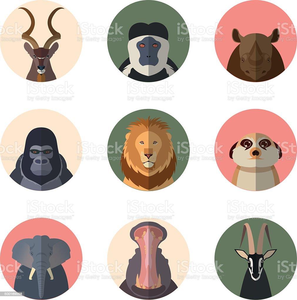 African animal round flat icons vector art illustration