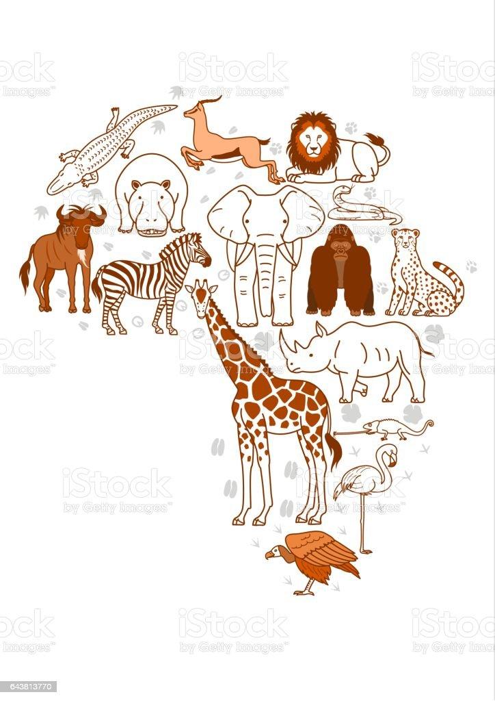 African animal set vector art illustration