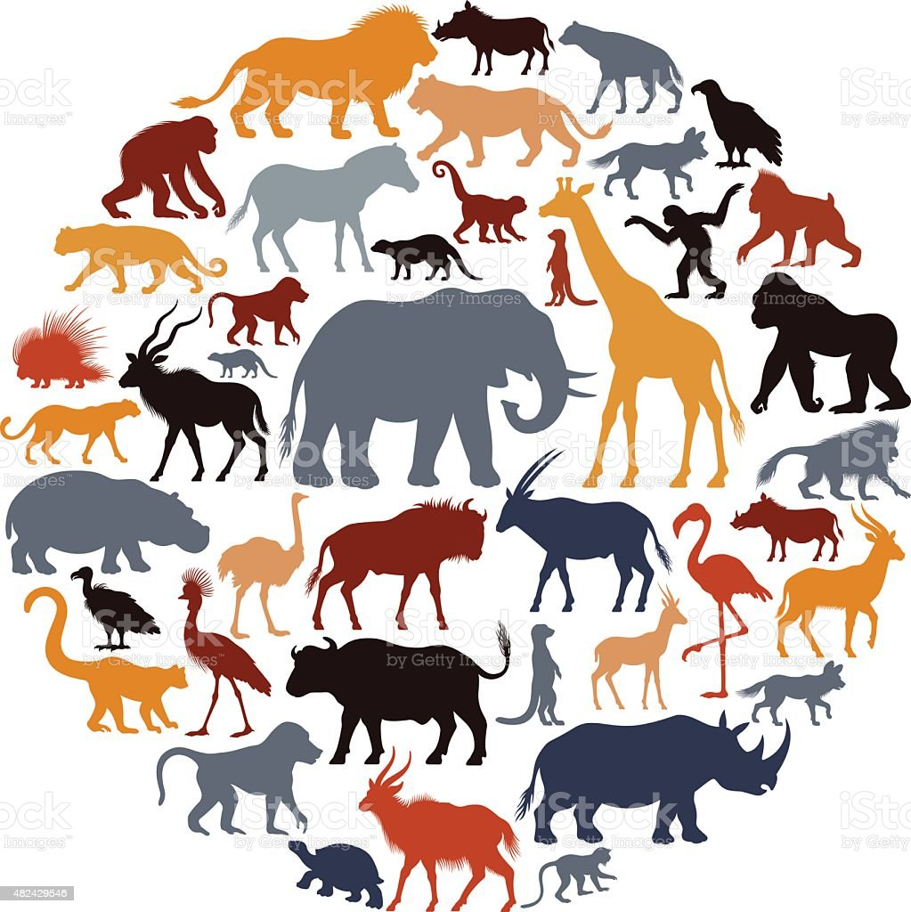 African Animal Silhouettes Collage vector art illustration
