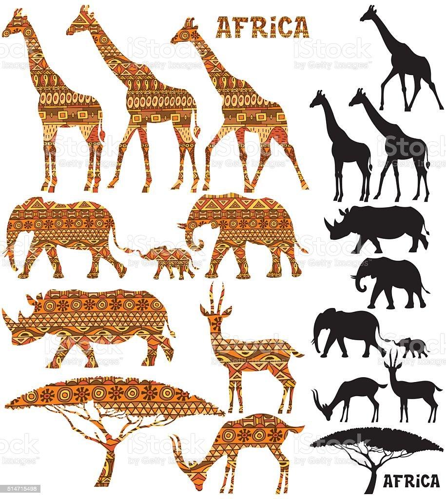 African Animal Silhouettes vector art illustration