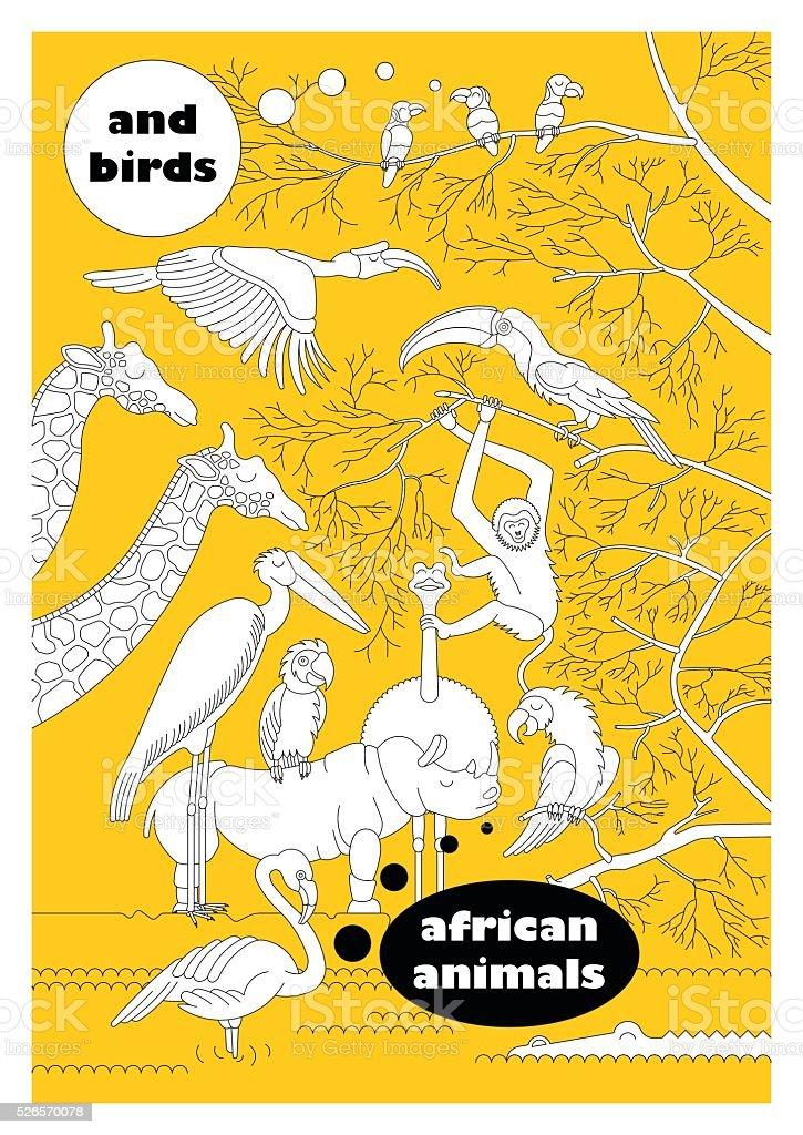 African animals 1 vector art illustration