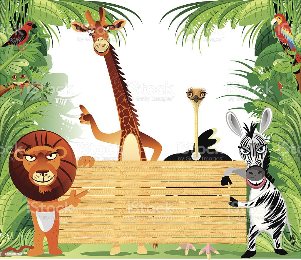 African animals and sign royalty-free stock vector art