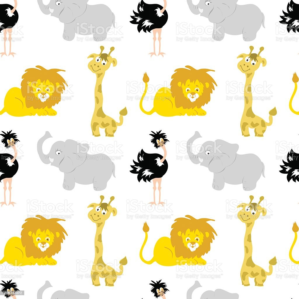 African animals baby animal Seamless Pattern