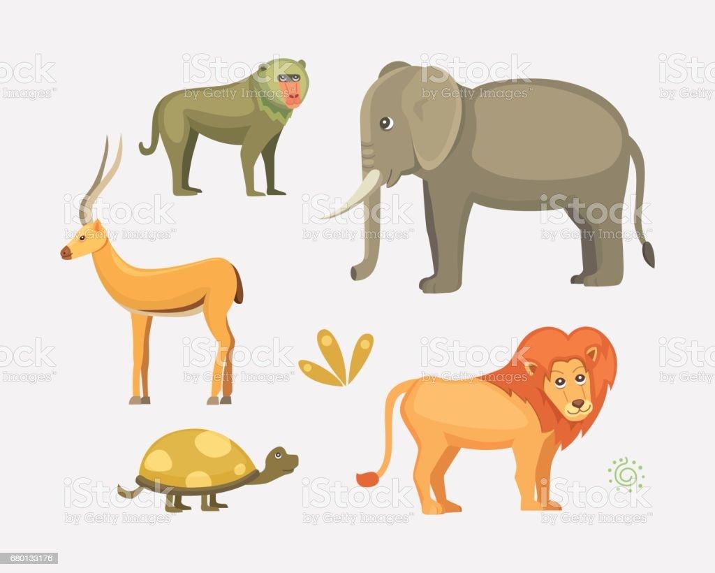 African animals cartoon vector set.  safari isolated illustration. vector art illustration