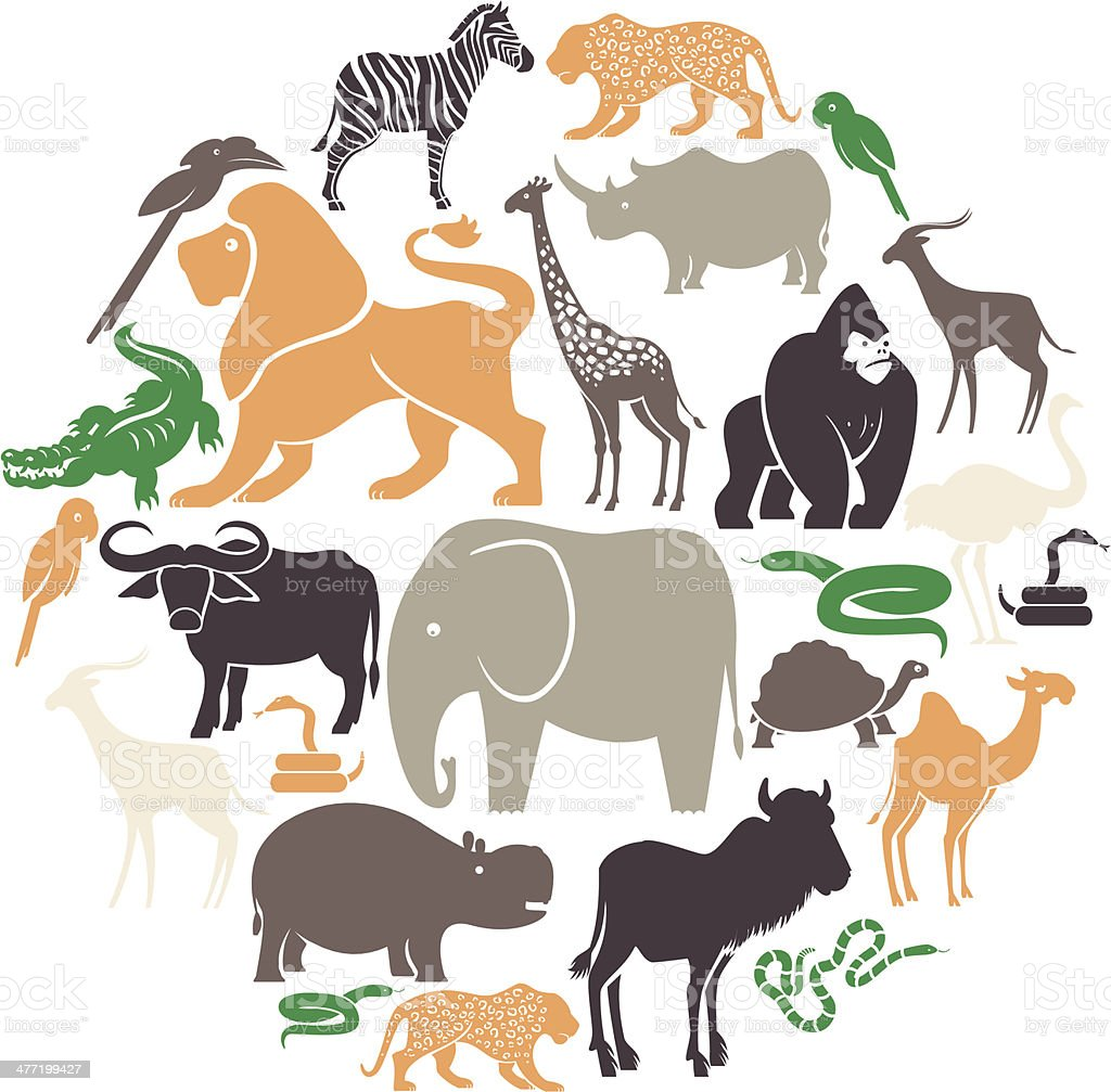 African Animals Icon Set vector art illustration