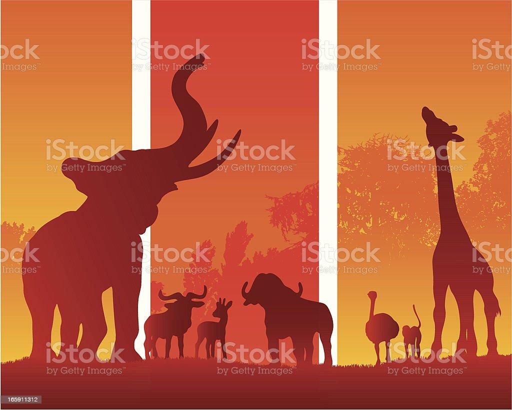 African animals in a summer silhouette safari vector art illustration