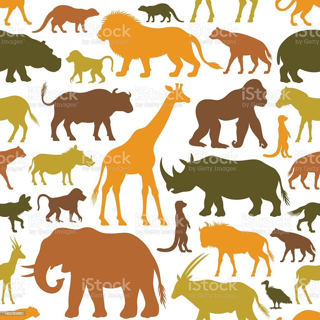 African Animals Pattern vector art illustration