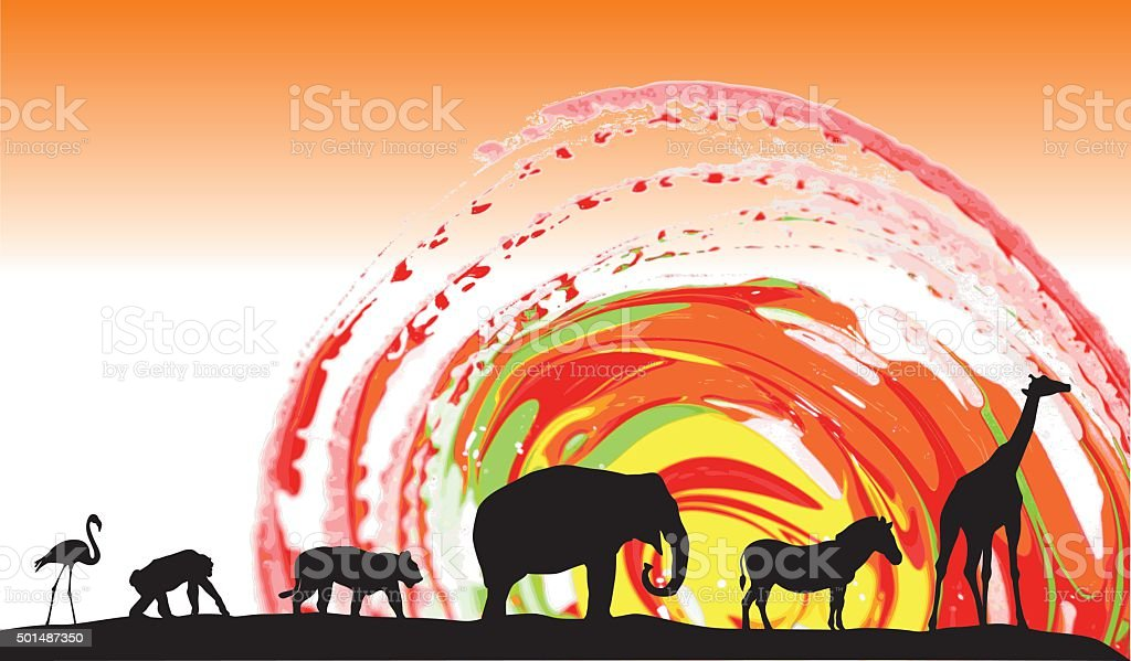 African Animals Sunset vector art illustration