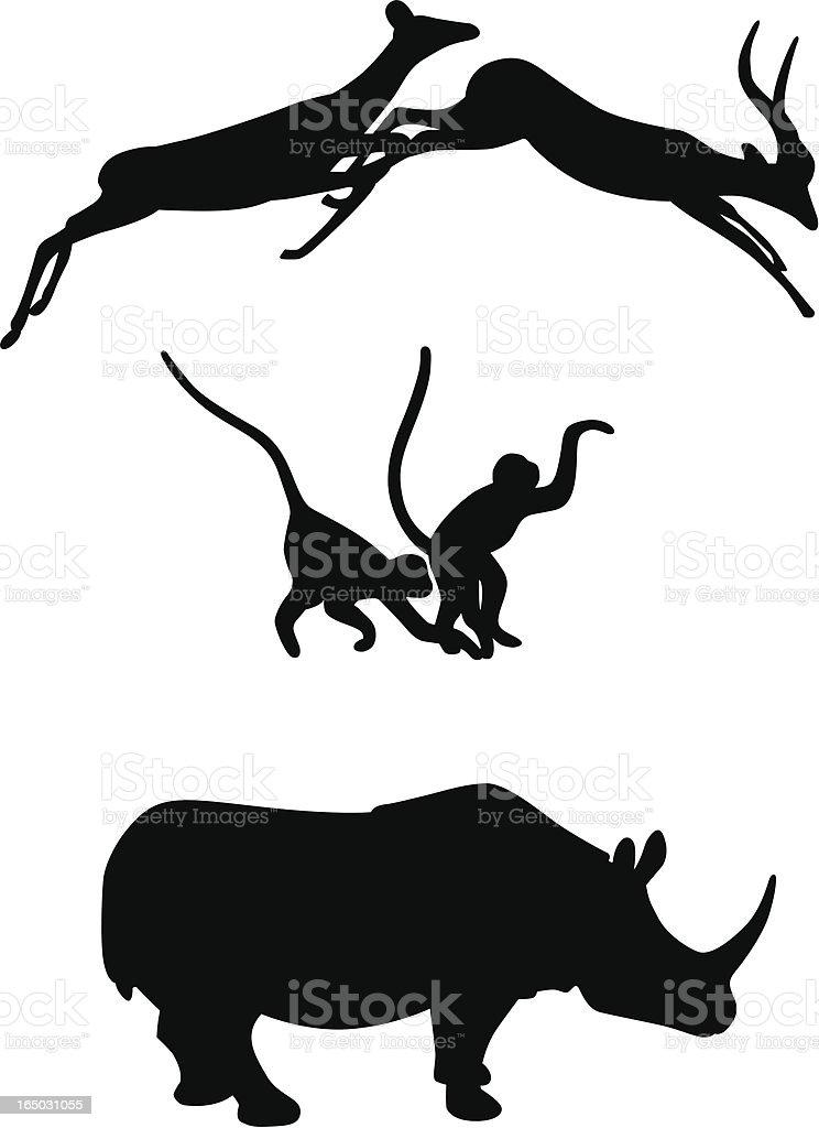 African Animals (Springbok, Monkeys & Rhino) vector art illustration