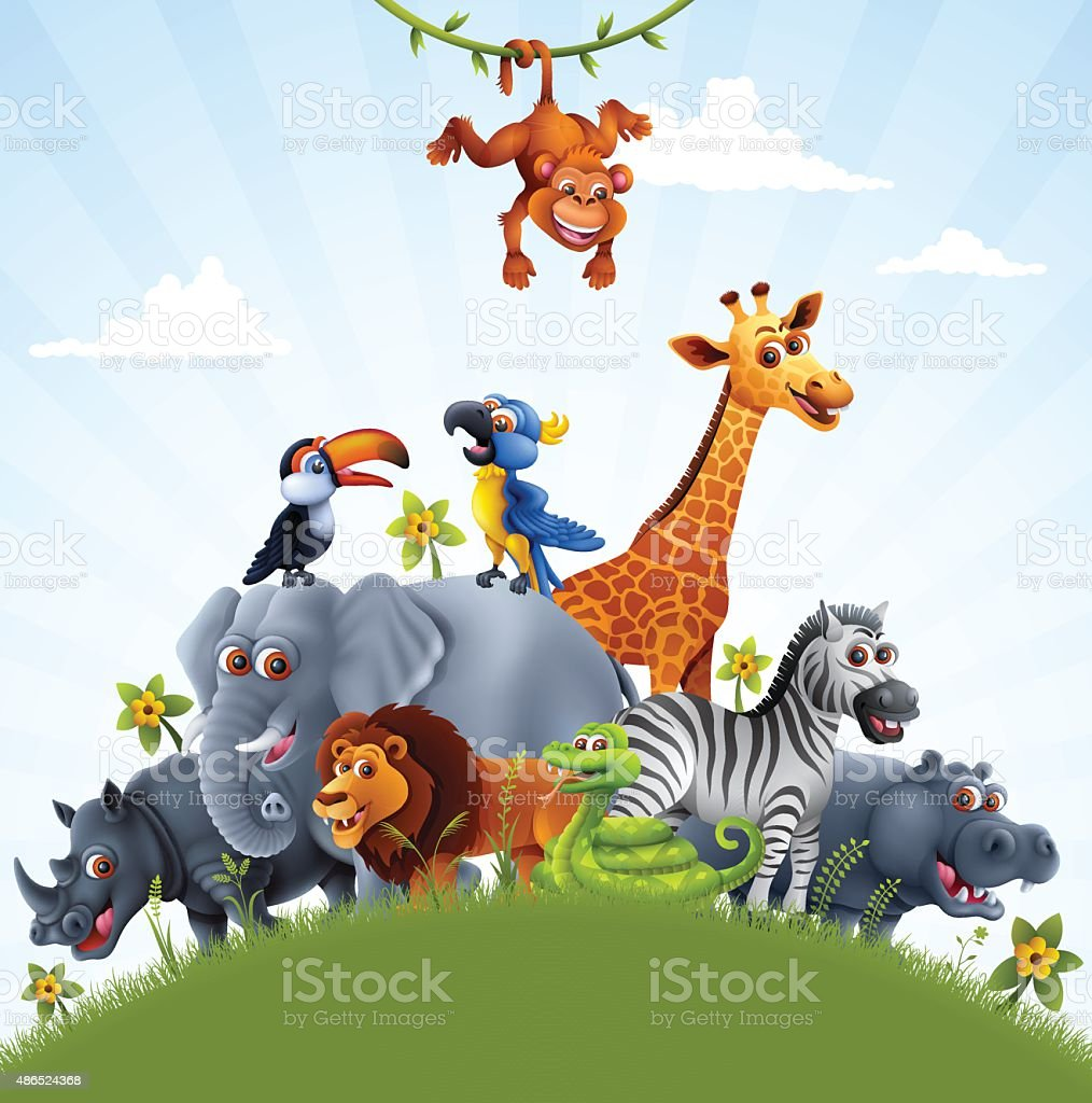 African Animals vector art illustration