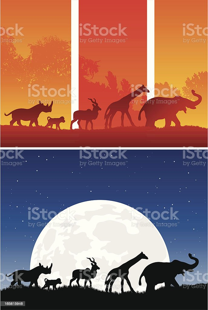 African animals walking in a row from sunset to night royalty-free stock vector art