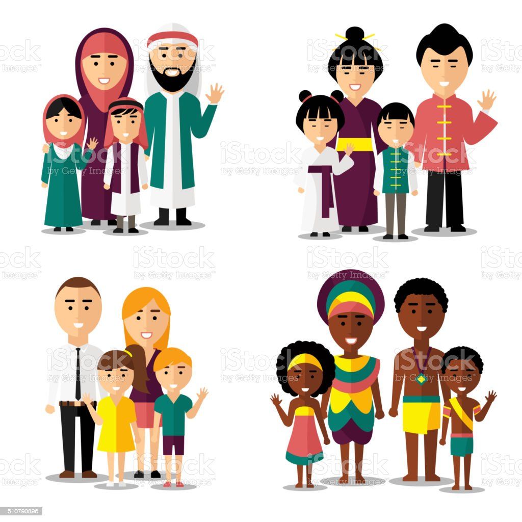 African, asian, arab and european families. Vector characters icons set vector art illustration