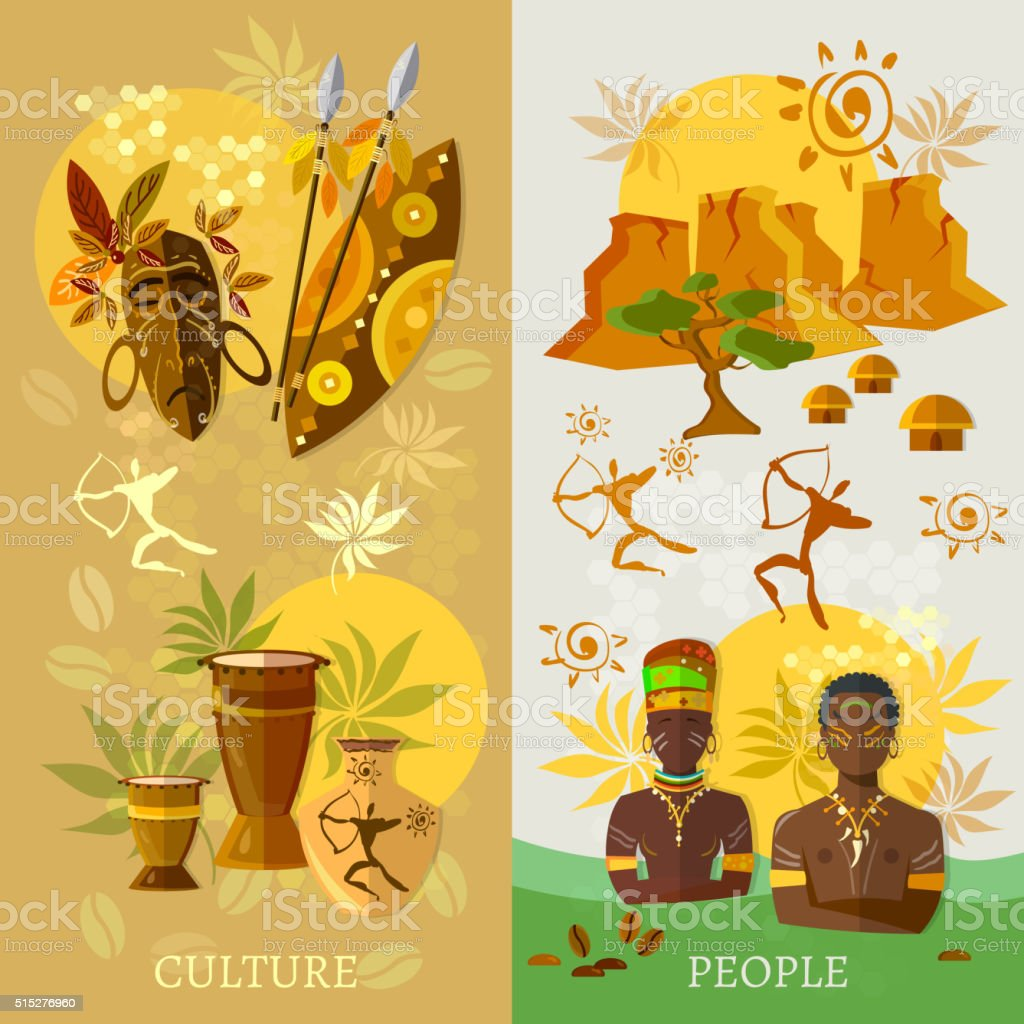 African banner Africa culture and traditions ancient tribes vector art illustration