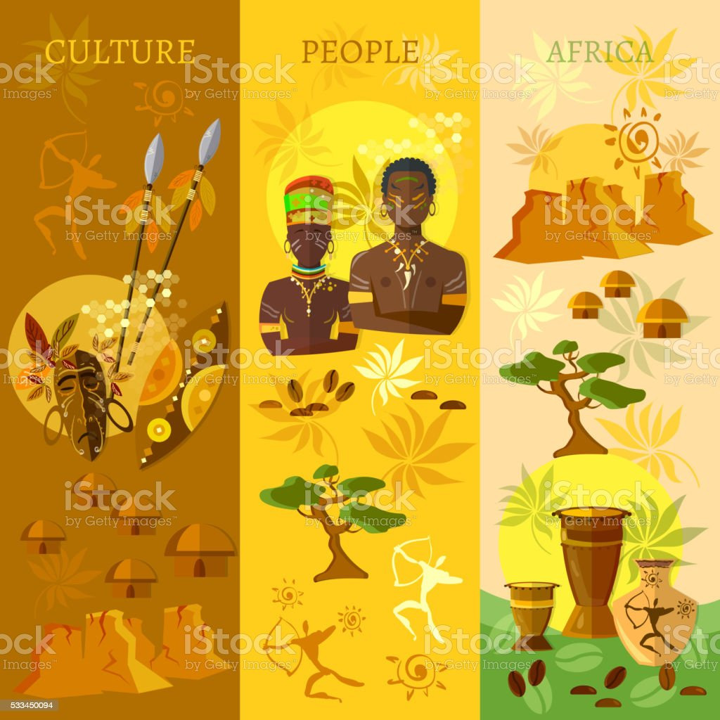African banner Africa culture and traditions vector art illustration