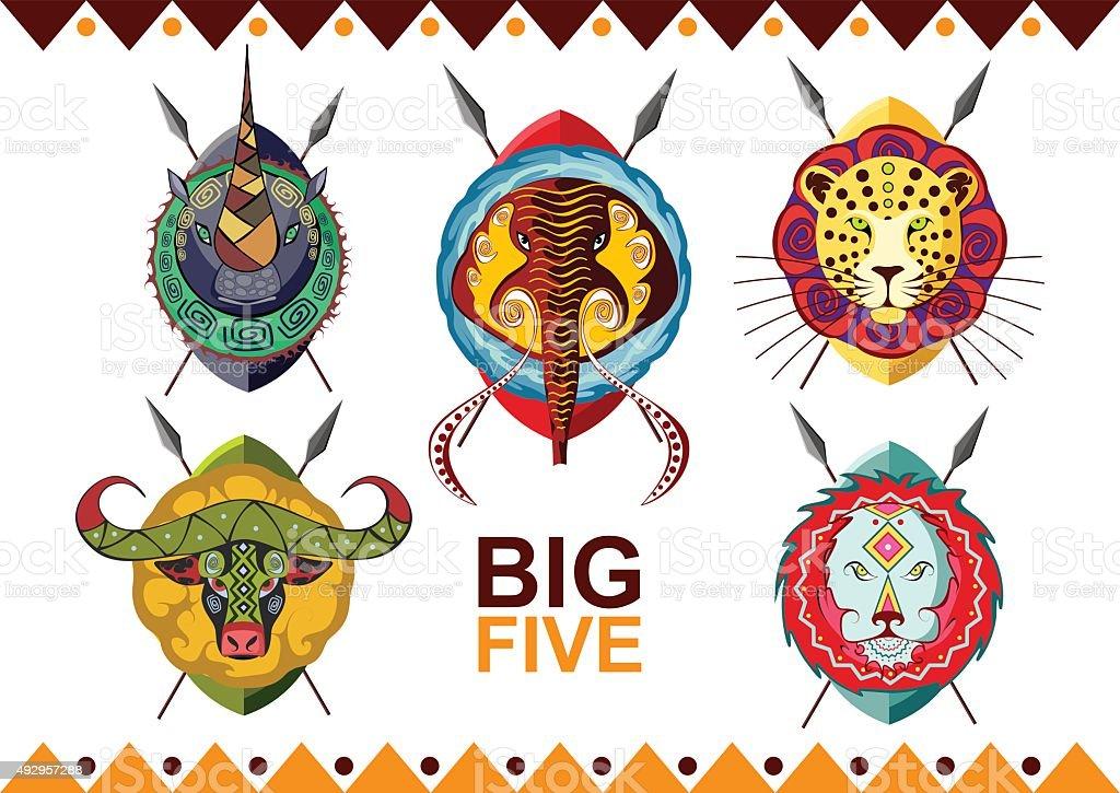 African big five. Rhino, buffalo, elephant, leopard and lion. vector art illustration