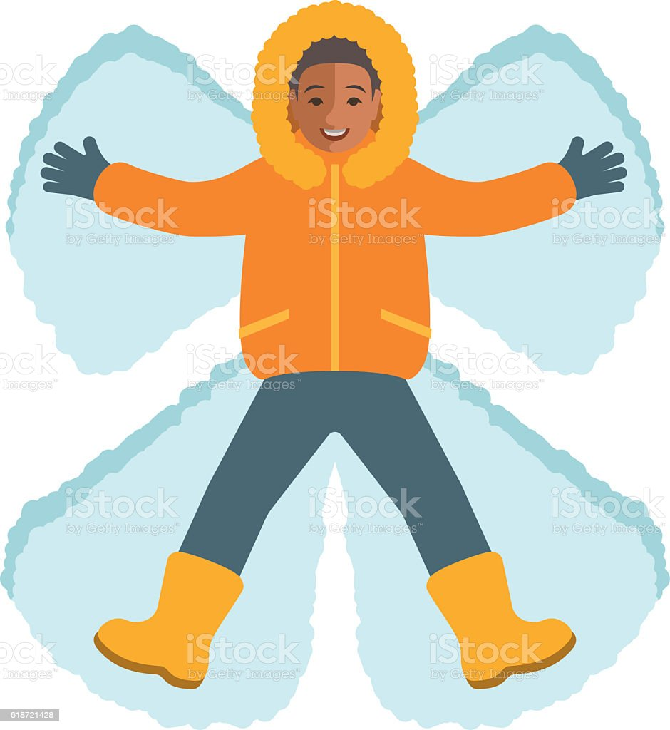 African boy in winter clothes making a snow angel vector art illustration