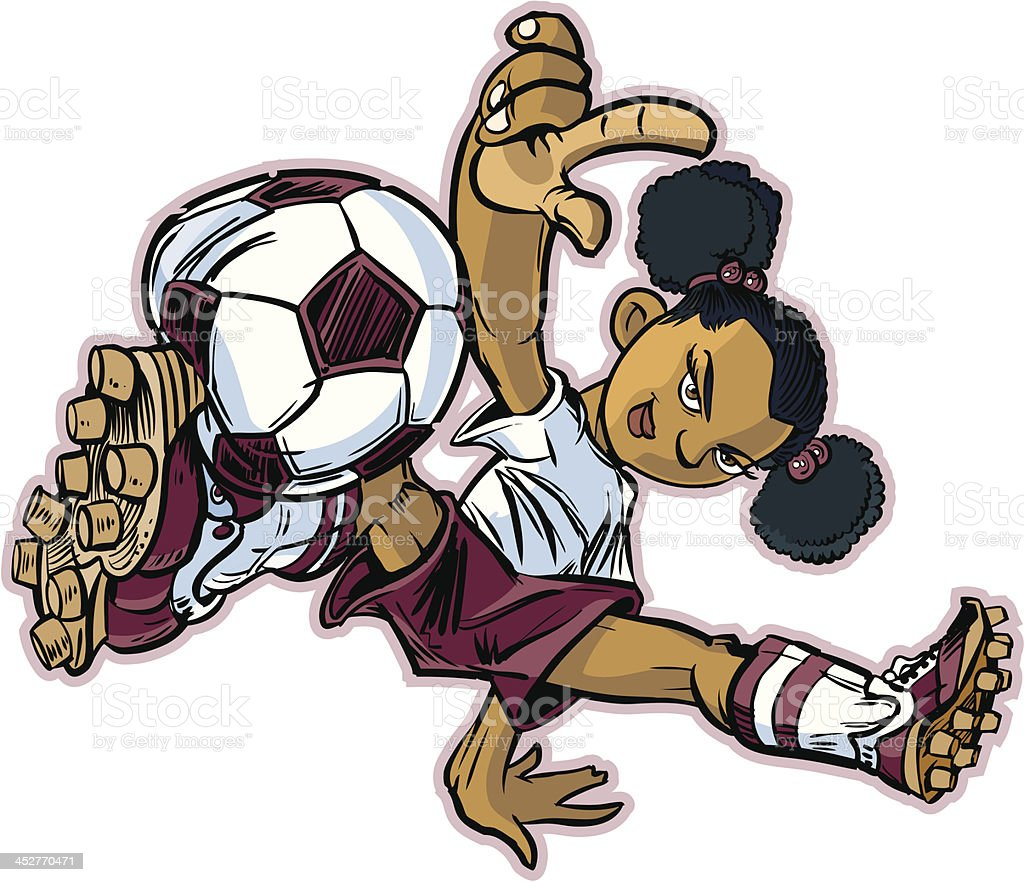 African Break Dancing Soccer Girl royalty-free stock vector art